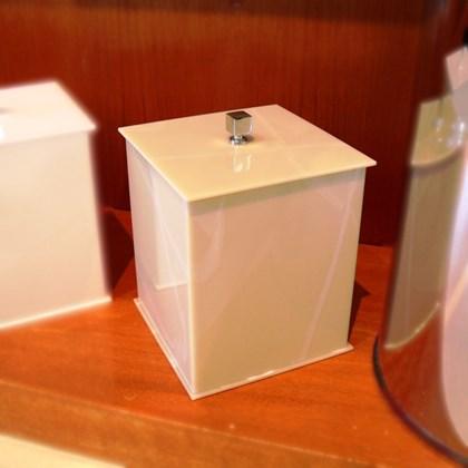 Lixeira Quadrada Bege Marmorizado 5 litros Acrílico