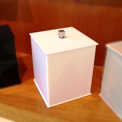 Lixeira Quadrada Branco 5 litros Acrílico