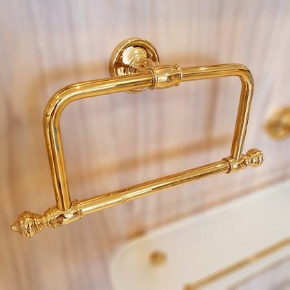 Porta Toalha Argola Ouro Real Clássico Dourado