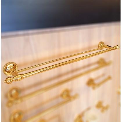Porta Toalha Duplo Clássico Ouro Real 60 cmts Dourado