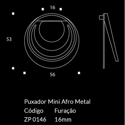 Puxador Afro Metal Escovado Inox Zen