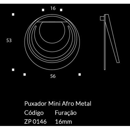 Puxador Afro Metal Mini Escovado Zen