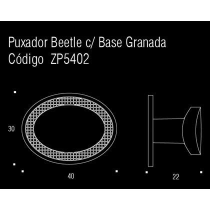Puxador Beetle com Base Granada Vecchio Metallo Zen