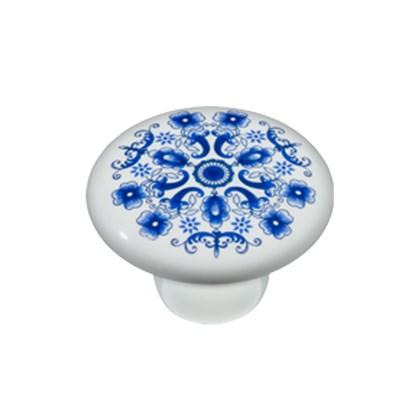 Puxador Cerâmica PA9502 Floral Azul IL7067