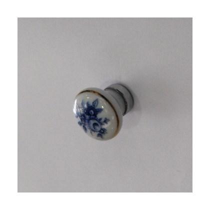 Puxador Cerâmica Porcelana 25 mm Floral Azul